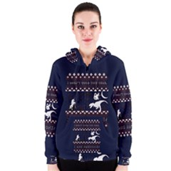 I Wasn t Good This Year, I Was Awesome! Ugly Holiday Christmas Blue Background Women s Zipper Hoodie