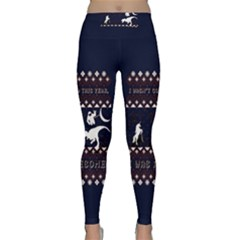 I Wasn t Good This Year, I Was Awesome! Ugly Holiday Christmas Blue Background Classic Yoga Leggings