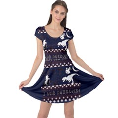 I Wasn t Good This Year, I Was Awesome! Ugly Holiday Christmas Blue Background Cap Sleeve Dresses