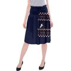 I Wasn t Good This Year, I Was Awesome! Ugly Holiday Christmas Blue Background Midi Beach Skirt
