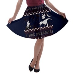 I Wasn t Good This Year, I Was Awesome! Ugly Holiday Christmas Blue Background A-line Skater Skirt