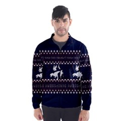 I Wasn t Good This Year, I Was Awesome! Ugly Holiday Christmas Blue Background Wind Breaker (Men)