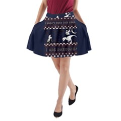 I Wasn t Good This Year, I Was Awesome! Ugly Holiday Christmas Blue Background A-Line Pocket Skirt