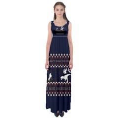 I Wasn t Good This Year, I Was Awesome! Ugly Holiday Christmas Blue Background Empire Waist Maxi Dress
