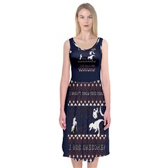 I Wasn t Good This Year, I Was Awesome! Ugly Holiday Christmas Blue Background Midi Sleeveless Dress