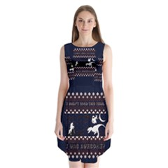 I Wasn t Good This Year, I Was Awesome! Ugly Holiday Christmas Blue Background Sleeveless Chiffon Dress