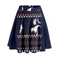 I Wasn t Good This Year, I Was Awesome! Ugly Holiday Christmas Blue Background High Waist Skirt