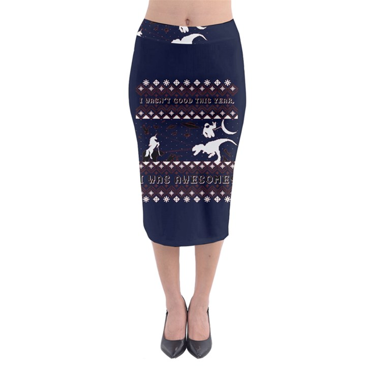 I Wasn t Good This Year, I Was Awesome! Ugly Holiday Christmas Blue Background Midi Pencil Skirt