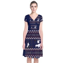 I Wasn t Good This Year, I Was Awesome! Ugly Holiday Christmas Blue Background Short Sleeve Front Wrap Dress