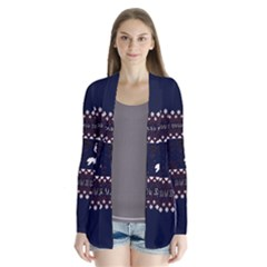 I Wasn t Good This Year, I Was Awesome! Ugly Holiday Christmas Blue Background Drape Collar Cardigan
