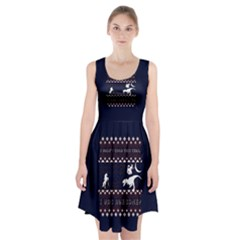 I Wasn t Good This Year, I Was Awesome! Ugly Holiday Christmas Blue Background Racerback Midi Dress