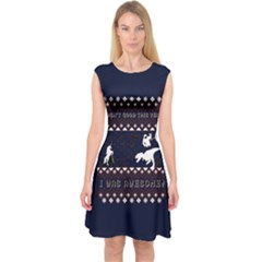 I Wasn t Good This Year, I Was Awesome! Ugly Holiday Christmas Blue Background Capsleeve Midi Dress
