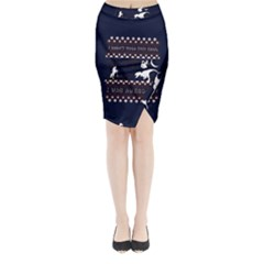 I Wasn t Good This Year, I Was Awesome! Ugly Holiday Christmas Blue Background Midi Wrap Pencil Skirt