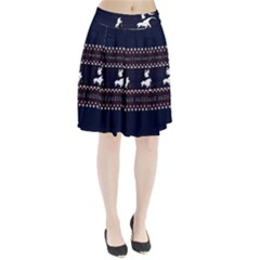 I Wasn t Good This Year, I Was Awesome! Ugly Holiday Christmas Blue Background Pleated Skirt