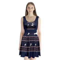 I Wasn t Good This Year, I Was Awesome! Ugly Holiday Christmas Blue Background Split Back Mini Dress