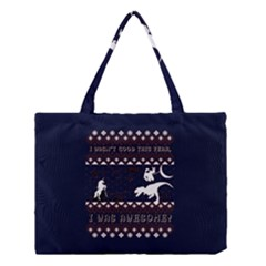 I Wasn t Good This Year, I Was Awesome! Ugly Holiday Christmas Blue Background Medium Tote Bag