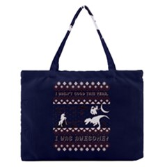 I Wasn t Good This Year, I Was Awesome! Ugly Holiday Christmas Blue Background Medium Zipper Tote Bag