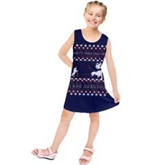 I Wasn t Good This Year, I Was Awesome! Ugly Holiday Christmas Blue Background Kids  Tunic Dress