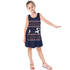 I Wasn t Good This Year, I Was Awesome! Ugly Holiday Christmas Blue Background Kids  Sleeveless Dress