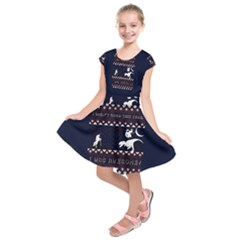 I Wasn t Good This Year, I Was Awesome! Ugly Holiday Christmas Blue Background Kids  Short Sleeve Dress