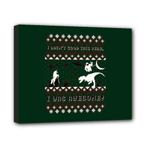 I Wasn t Good This Year, I Was Awesome! Ugly Holiday Christmas Green Background Canvas 10  x 8