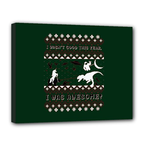 I Wasn t Good This Year, I Was Awesome! Ugly Holiday Christmas Green Background Canvas 14  X 11