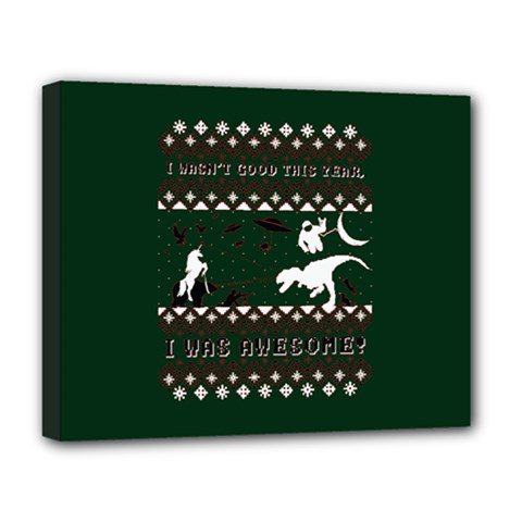 I Wasn t Good This Year, I Was Awesome! Ugly Holiday Christmas Green Background Deluxe Canvas 20  X 16