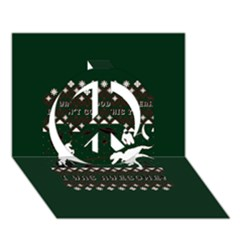 I Wasn t Good This Year, I Was Awesome! Ugly Holiday Christmas Green Background Peace Sign 3D Greeting Card (7x5)