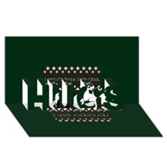 I Wasn t Good This Year, I Was Awesome! Ugly Holiday Christmas Green Background Hugs 3d Greeting Card (8x4)