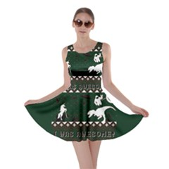 I Wasn t Good This Year, I Was Awesome! Ugly Holiday Christmas Green Background Skater Dress
