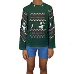 I Wasn t Good This Year, I Was Awesome! Ugly Holiday Christmas Green Background Kids  Long Sleeve Swimwear
