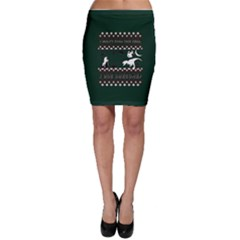 I Wasn t Good This Year, I Was Awesome! Ugly Holiday Christmas Green Background Bodycon Skirt