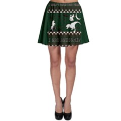 I Wasn t Good This Year, I Was Awesome! Ugly Holiday Christmas Green Background Skater Skirt
