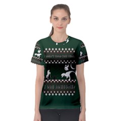 I Wasn t Good This Year, I Was Awesome! Ugly Holiday Christmas Green Background Women s Sport Mesh Tee
