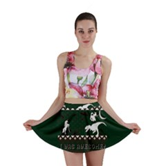 I Wasn t Good This Year, I Was Awesome! Ugly Holiday Christmas Green Background Mini Skirt