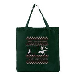 I Wasn t Good This Year, I Was Awesome! Ugly Holiday Christmas Green Background Grocery Tote Bag