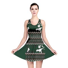 I Wasn t Good This Year, I Was Awesome! Ugly Holiday Christmas Green Background Reversible Skater Dress