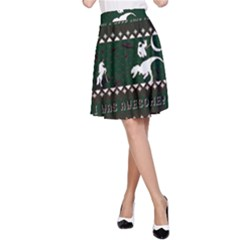 I Wasn t Good This Year, I Was Awesome! Ugly Holiday Christmas Green Background A Line Skirt