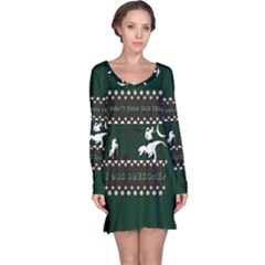 I Wasn t Good This Year, I Was Awesome! Ugly Holiday Christmas Green Background Long Sleeve Nightdress
