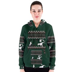 I Wasn t Good This Year, I Was Awesome! Ugly Holiday Christmas Green Background Women s Zipper Hoodie