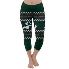 I Wasn t Good This Year, I Was Awesome! Ugly Holiday Christmas Green Background Capri Winter Leggings