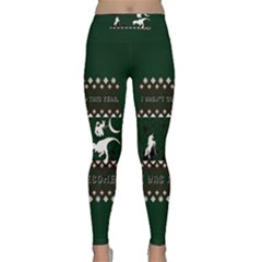 I Wasn t Good This Year, I Was Awesome! Ugly Holiday Christmas Green Background Classic Yoga Leggings