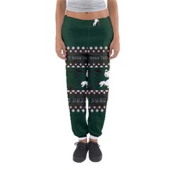 I Wasn t Good This Year, I Was Awesome! Ugly Holiday Christmas Green Background Women s Jogger Sweatpants