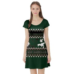 I Wasn t Good This Year, I Was Awesome! Ugly Holiday Christmas Green Background Short Sleeve Skater Dress