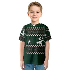 I Wasn t Good This Year, I Was Awesome! Ugly Holiday Christmas Green Background Kids  Sport Mesh Tee
