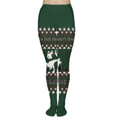 I Wasn t Good This Year, I Was Awesome! Ugly Holiday Christmas Green Background Women s Tights