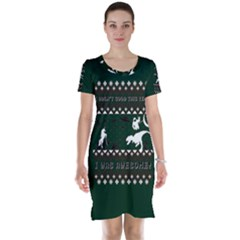 I Wasn t Good This Year, I Was Awesome! Ugly Holiday Christmas Green Background Short Sleeve Nightdress