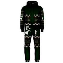 I Wasn t Good This Year, I Was Awesome! Ugly Holiday Christmas Green Background Hooded Jumpsuit (Men)