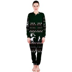 I Wasn t Good This Year, I Was Awesome! Ugly Holiday Christmas Green Background OnePiece Jumpsuit (Ladies)