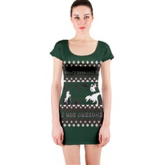 I Wasn t Good This Year, I Was Awesome! Ugly Holiday Christmas Green Background Short Sleeve Bodycon Dress
